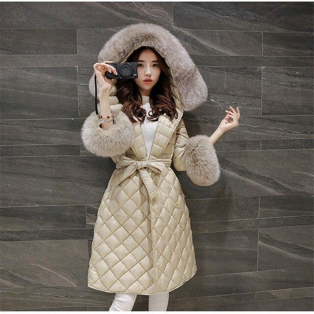 2017 Europ New Style Women Winter Coat Lightweight Thin Warm Duck down Down jacket Big yards Slim Hooded Fur collar Jacket G2458