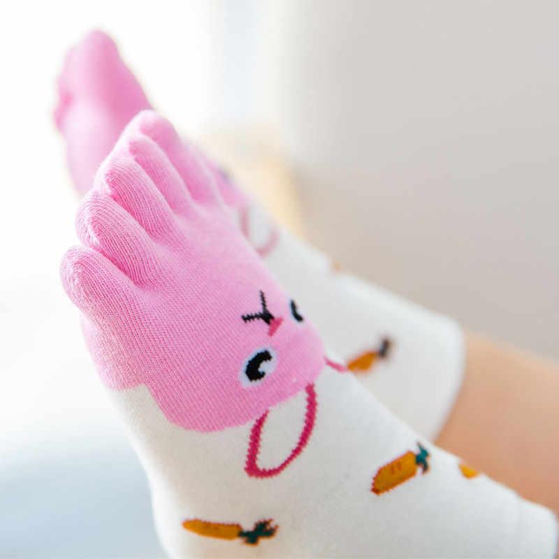 Новый год Kawaii детские носки с изображением животных, из хлопка, для мальчиков и девочек, носки с пальцами, носки для детей пять носок с пальцами
