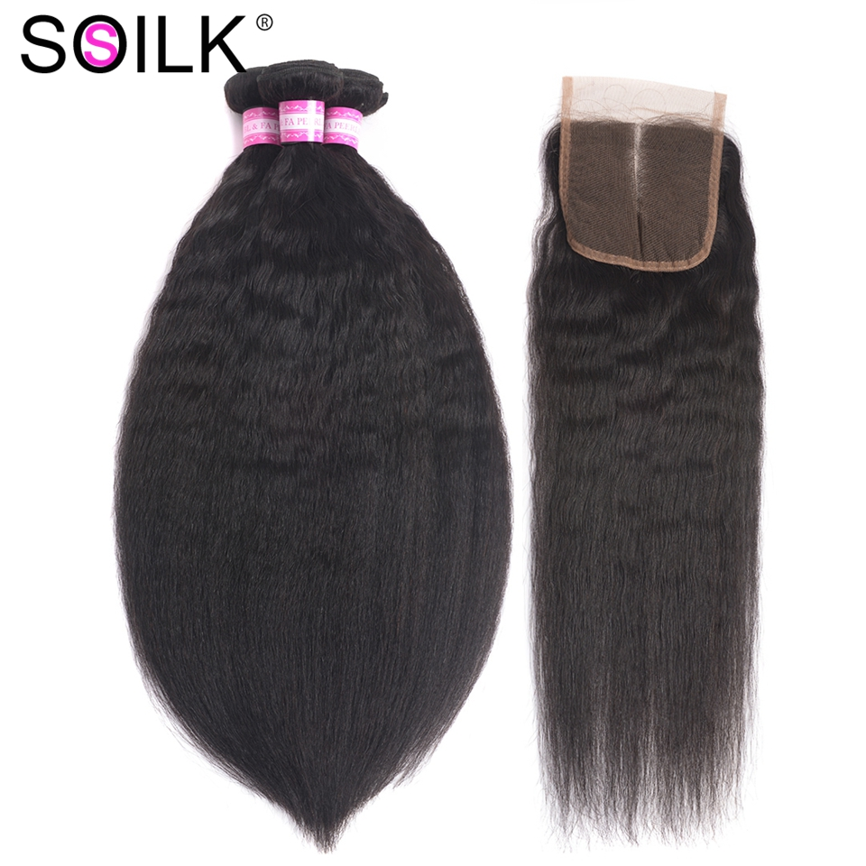 So Silk Malaysian Kinky Straight Hair 3 Bundles with Closure Free/Middle 10-26 inch Bundles with Closure Human Hair Non Remy