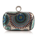 Women Sequine Clutch Bag 2016 Rhinestone Crystal Peacock Clutch Bag Women Designer Chain Small Bag Evening Bolsas De Festa