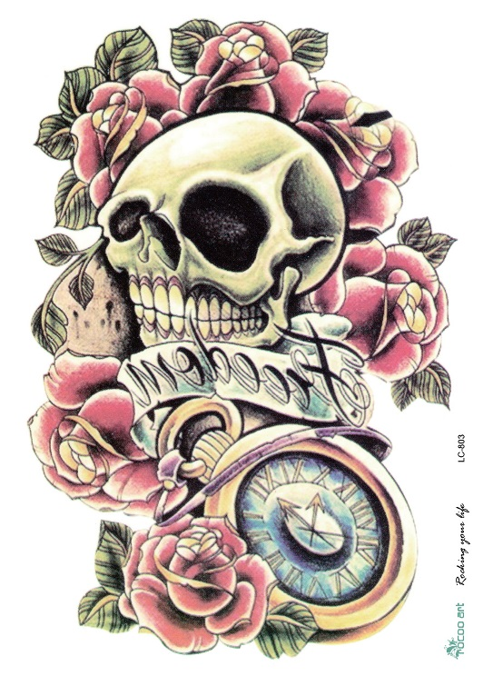 Body Art Large Tattoo Sticker Halloween Skull 1
