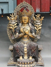 26 «Старый Китайский Тибет Буддизм Бронзовый Свинка Майтрейя Goddness Гуаньинь Статуя Будды