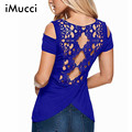 2016 New Summer Blusas Sexy Women Blouses Lace Crochet Short Sleeve Backless Off Shoulder Split Tops Blouse Shirt  Ladies Tops
