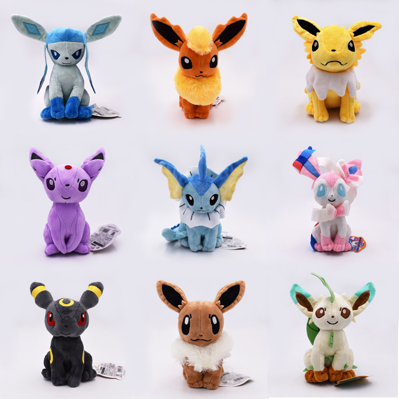 9Pcs Set Eevee Sylveon Espeon Flareon Umbreon Glaceon Jolteon Vaporeon Leafeon Stuffed Doll Soft Plush Toys