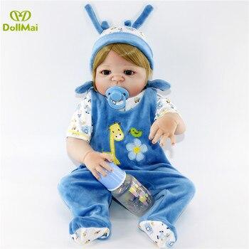 23inch 57cm Baby Reborn Dolls Full Silicone Vinyl adorable blue deer clothes boy dolls baby reborn Alive Doll NPKCOLLECTION toy