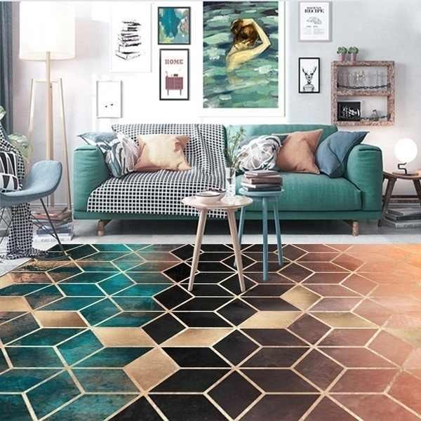 로즈 골드 핑크/그린 현대 지역 양탄자 기하학 패턴 카펫 북유럽 간단한 커피 테이블 깔개 매트 거실 침실