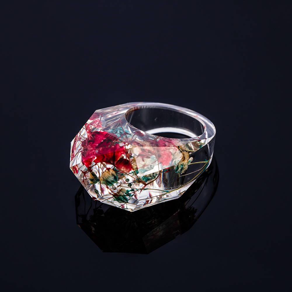 Wedding Flowers In Resin: Transparent Resin Dried Flower Scenery Painting Resin Ring