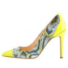 Elegance 2016 Women Shoes  Pointed Toe High Slim Heel Snake Print Pumps Slip-On Yellow Sapato Feminino Graceful Ladies