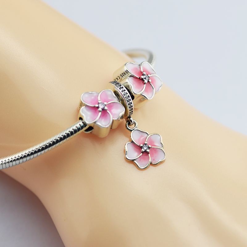 CKK 100% 925 Sterling Silver Pink Enamel Beads Drange Charm Fandola Bracelet for Women Girl Gift Fine Jewelry CKSR008B ckk 100