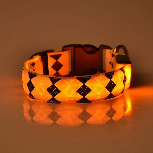Pets Dogs Night Safety Rhombus Pattern Collar Light Night Up Nylon LED Adjustable Collars S M L XL