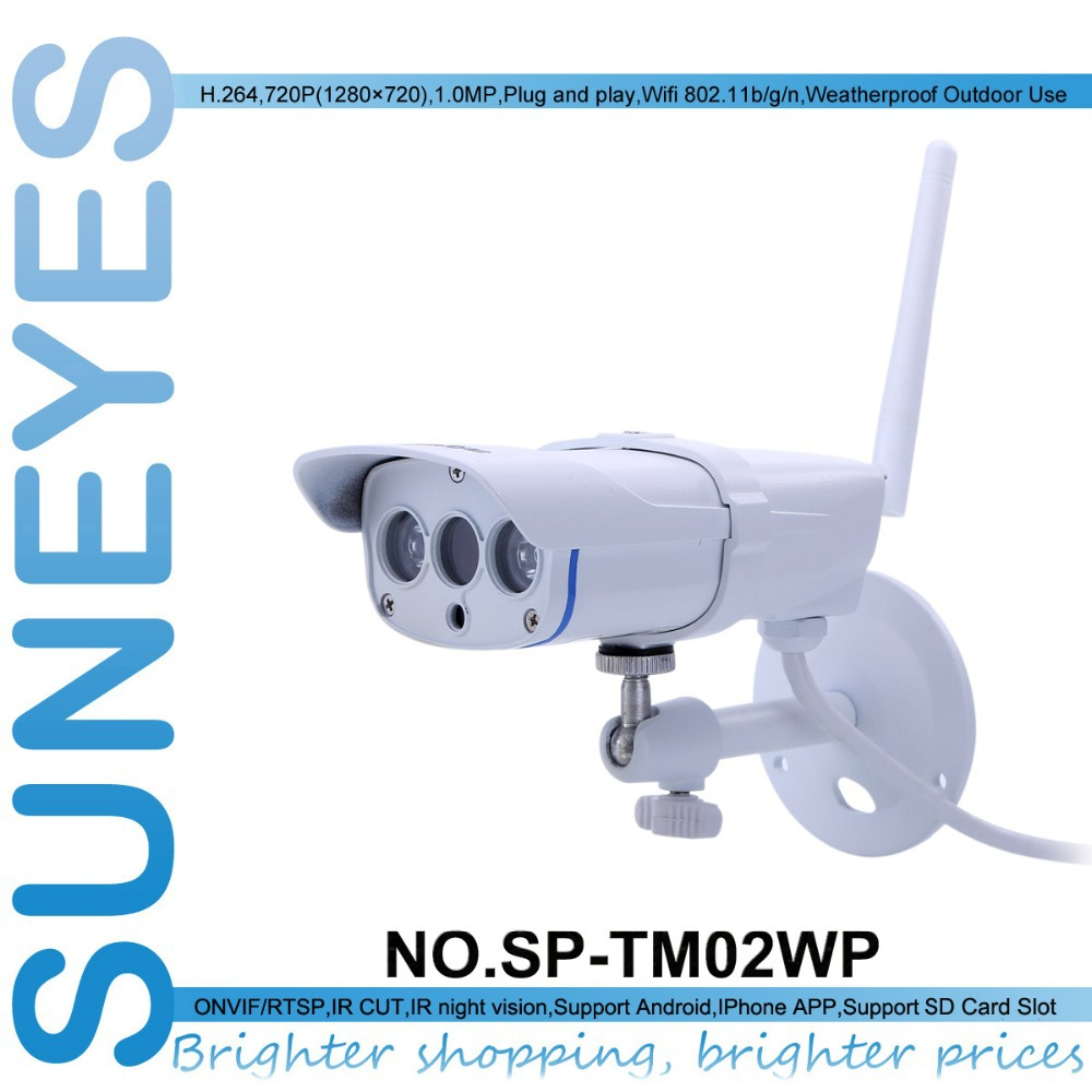 SunEyes SP-TM02WP Smart Home Wireless Wifi IP Camera 1080P Full HD Weatherproof Outdoor with Micro SD Slot and IR Night Vision suneyes sp p701ewpt p1801swpt hd pan tilt rotation ip camera wireless outdoor with micro sd slot 720p and 1080p optional