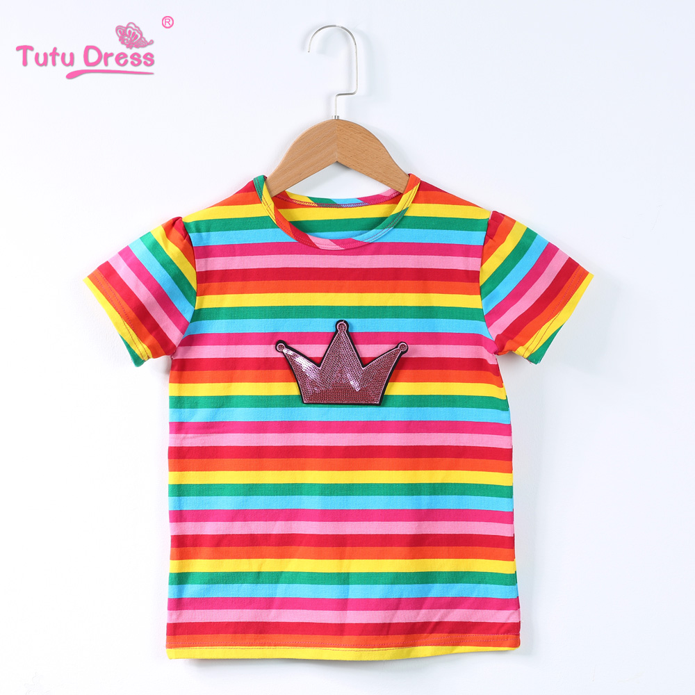 Girls T-Shirt 2018 Summer Hot Sale Baby Girls Short Sleeve T-Shirts Kids Clothes Cotton Rainbow Clothes