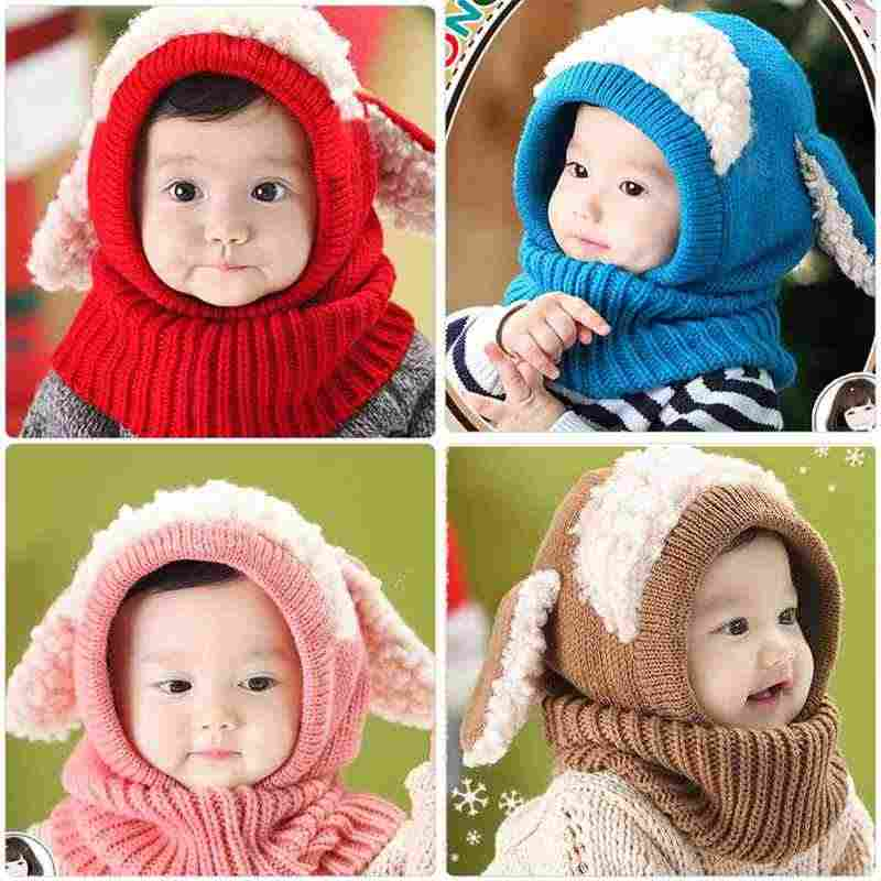 81ef3f47a79fa ... Winter Newborn Baby Knitted Hat Cute Rabbit Ears Infant Beanies Cap  with Hooded Scarf Earflap Warm ...