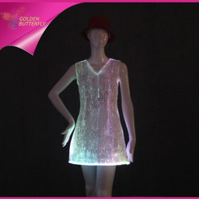 LED Princess Dress Glowing Sexy Dress Luminous Skirt Bra Fiber Clothe Glowing Evening Dress Sexy For Women Dance Clothes