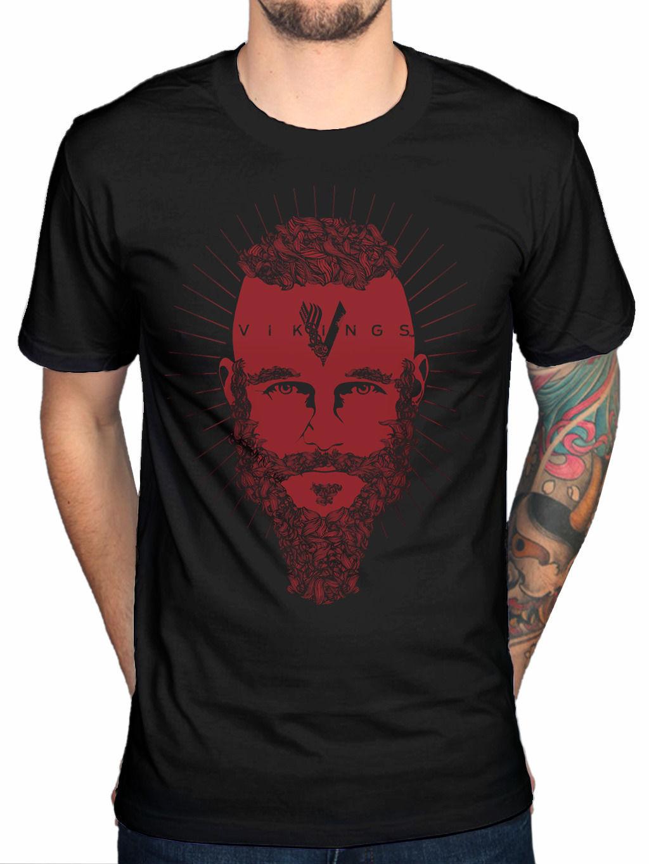 Shirt design history - T Shirt Men 2017 Fashion High Quality Vikings Ragnar Face History Channel Fan T Shirt Design Basic Top