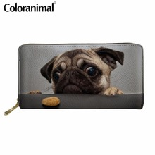 Coloranimal 2018 New Arrival Women Men Casual Credit Card PU Design Long Wallet Kawaii Pet Pug Dog Print Ladies Fashion Purse
