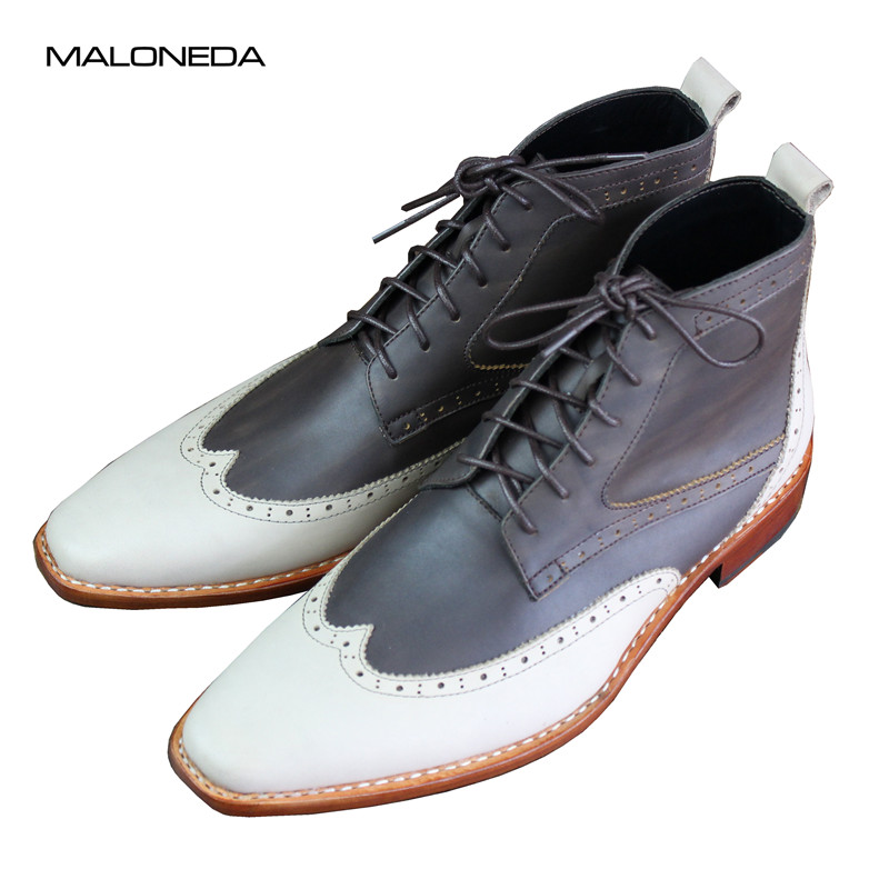 MALONEDE Bespoke Handmade Mixed Color Italian Brogue Style Genuine Cow Leather Lace Up Short Boots With Goodyear Welted For MaleMALONEDE Bespoke Handmade Mixed Color Italian Brogue Style Genuine Cow Leather Lace Up Short Boots With Goodyear Welted For Male