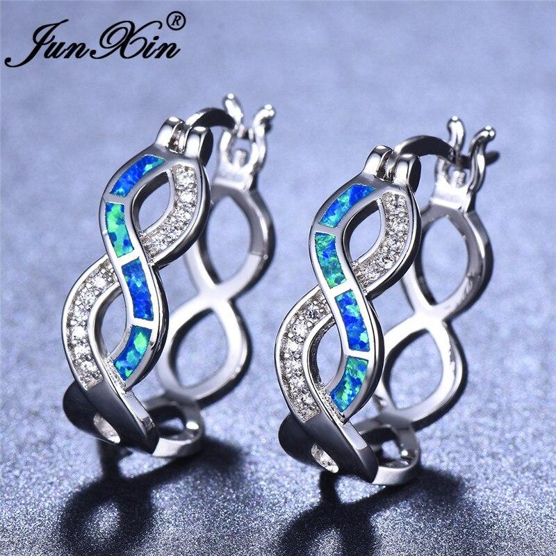 JUNXIN Luxury Female Infinity Hoop Earrings Blue White Fire Opal Earrings For Women Silver Color Wave Earrings CZ