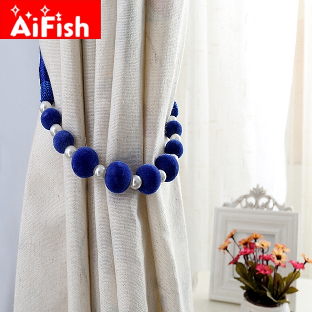 Curtain Accessories Handmade DIY Colorful Beads Hanging Straps For Home Curtains Holder Pearl Clips All