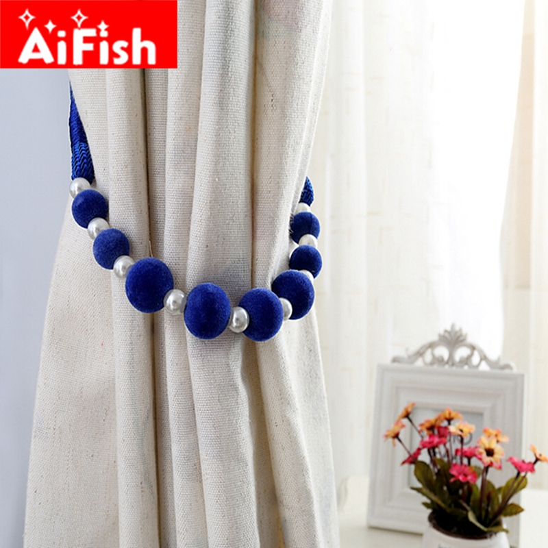 Curtain Accessories Handmade DIY Colorful Beads Hanging Straps For Home Curtains <font><b>Holder</b></font> Pearl Clips All-match Home Tiebacks #4