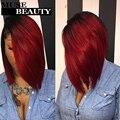 10A T1b Borgonha Reta Peruano Ombre Cabelo Virgem Peruano Vermelho cabelo Rosa Produtos de Cabelo Em Linha Reta 4 Bundles Negócio Vermelho Escuro tecer