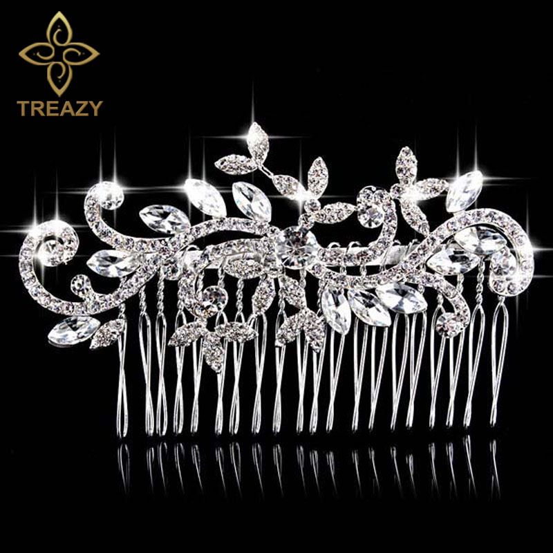 TREAZY Beautiful Floral Wedding Hair Jewelry Silver Plated Imitated Pearl Crystal Bridal Hair Combs for Women Hair Accessories