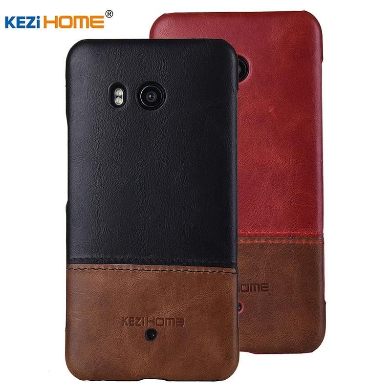 Per il caso di HTC U11 KEZiHOME Lusso Hit Colore In Vera Pelle Dura Back Cover capa Per HTC U11 U 11 5.5 ''casse Del Telefono