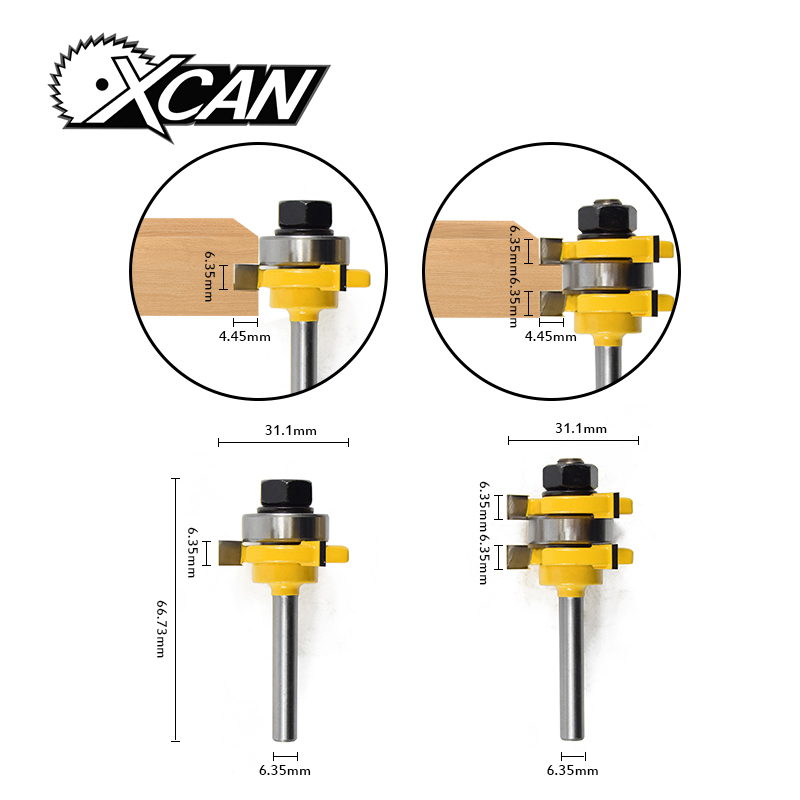 2pcs/set Router bit 1/4'' shank Router Bit Set  Wood Cutting Tool T-Slot Milling Cutters high grade carbide alloy 1 2 shank 2 1 4 dia bottom cleaning router bit woodworking milling cutter for mdf wood 55mm mayitr