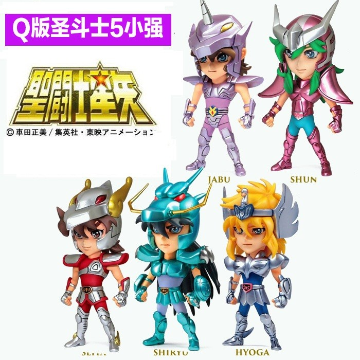 2015 Hot ! NEW 10cm 5pcs/set Q version Saint Seiya jabu shun hyoga Shiryu PVC Action Figure toys