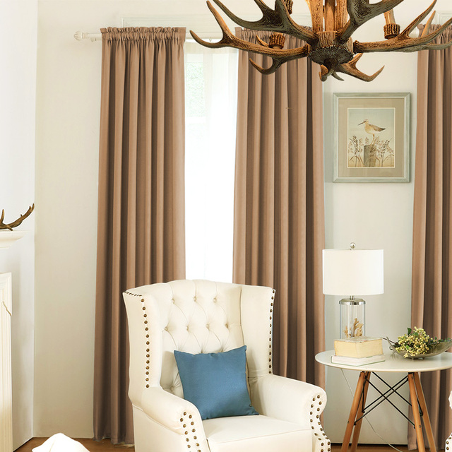 80% Blackout Drape Curtains Living Room Soft Plain Finished Panel ...
