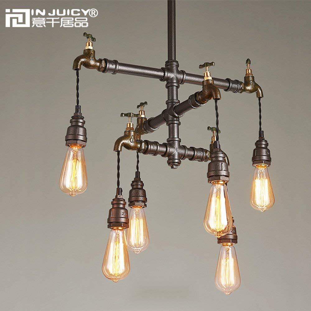 Loft Industrial Wrought Iron Pendant Light Fixture Retro Water Pipe Steampunk Metal Bar Dining Room Restaurant Pendant Lamp|Pendant Lights| |  - title=
