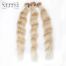 """Neitsi 20 """"1 г/локон 50 г 24 # натуральная блондинка Предварительно Таможенный U кончик ногтя кератин машина сделала Реми Fusion Пряди человеческих волос для наращивания естественная волна"""