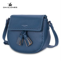 DAVIDJONES Women Handbag Female Faux Leather Messenger Bags Mini Lady Tassel Shoulder Bag Girl Brand Crossbody Bag drop shipping