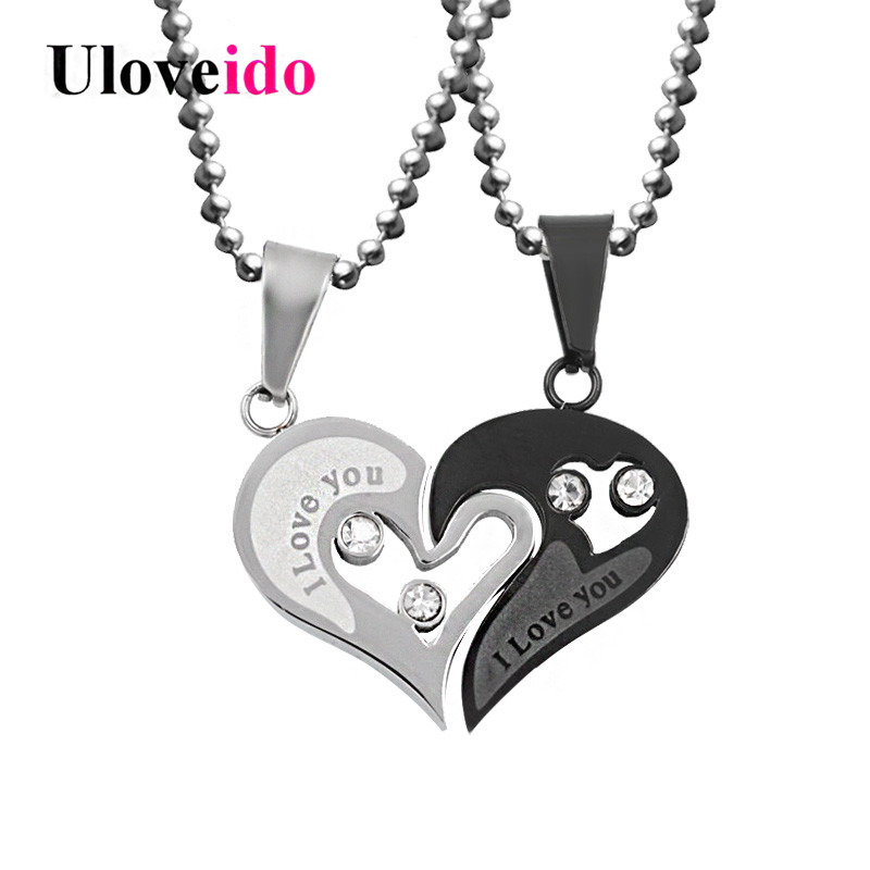 Uloveido Black Heart Love Necklaces & Pendants for Couple Mens Stainless Steel Chain Korean Fashion Paired Suspension Pendant