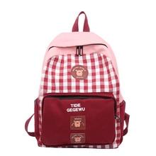 Canvas Backpack Women Leisure Back Pack Korean Ladies Knapsack Casual Travel Bags for School Teenage Girls School Bagpack A5