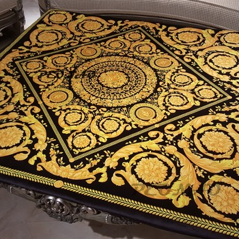 New Arrivlas European Party Golden Tablecloth Dining Table Cover for Wedding HD Printing Table Cloth Decorative