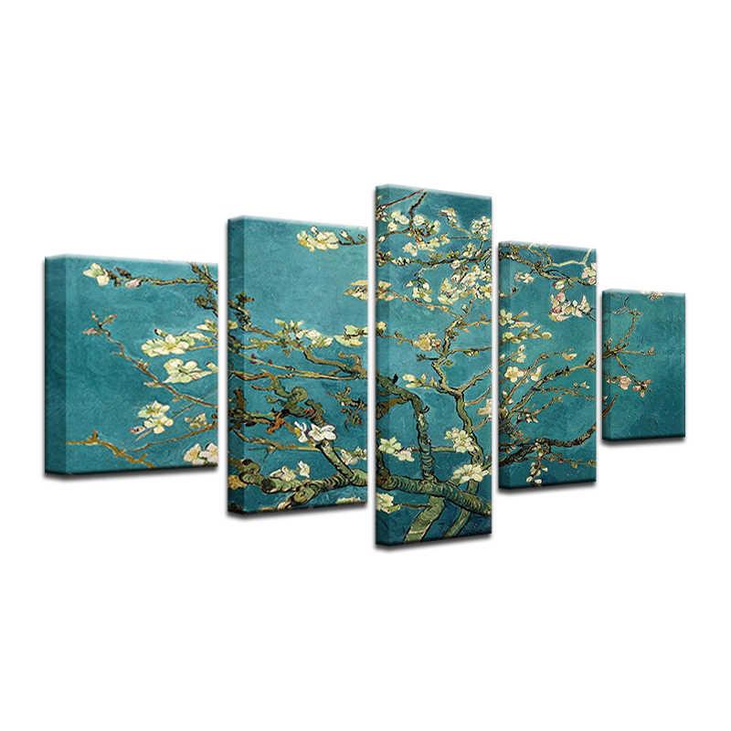 5 sztuk abstrakcyjne niebieski brzoskwinia drzewo zdjęcia na płótnie dla pokoju gościnnego drukuje obrazy wystrój domu