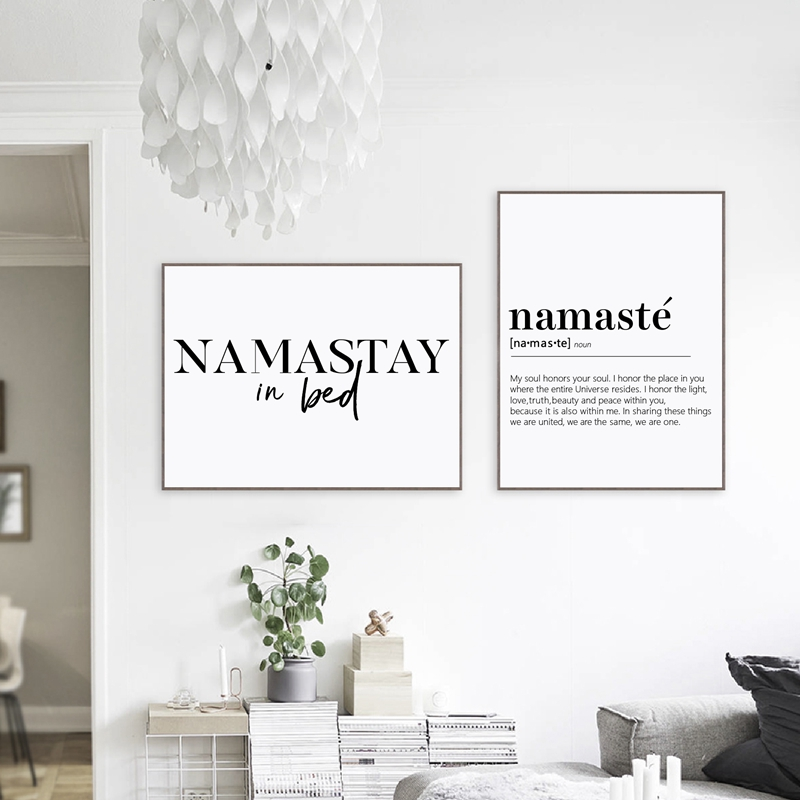 Namastay In Bed Prints Yoga Decor Bedroom Modern Wall Art , Namaste Definition Canvas Painting Yoga Artwork Zen Prints