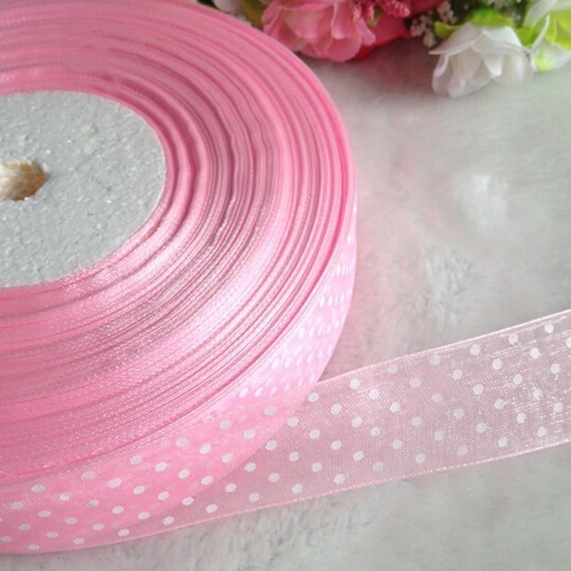 HL 20 метров 1 «Розовый ткачество лента из органзы принт горошек подарочная упаковка ремень Свадебные Рождество Швейные аксессуары для художественного оформления A695