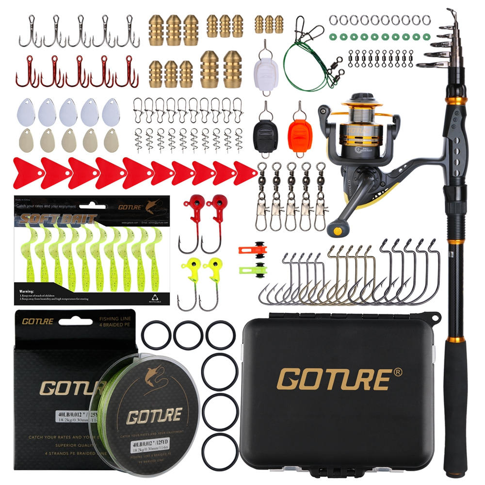 Goture Fishing Rod Combo Carbon Fiber Telescopic Sea Rod With Spinning Reel ,Braided Line ,Soft Lure And Fishing Accessories