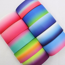 16724-15F, 38mm mixed for 10 yards, gradient color grosgrain ribbon, decorative DIY handmade jewelry.