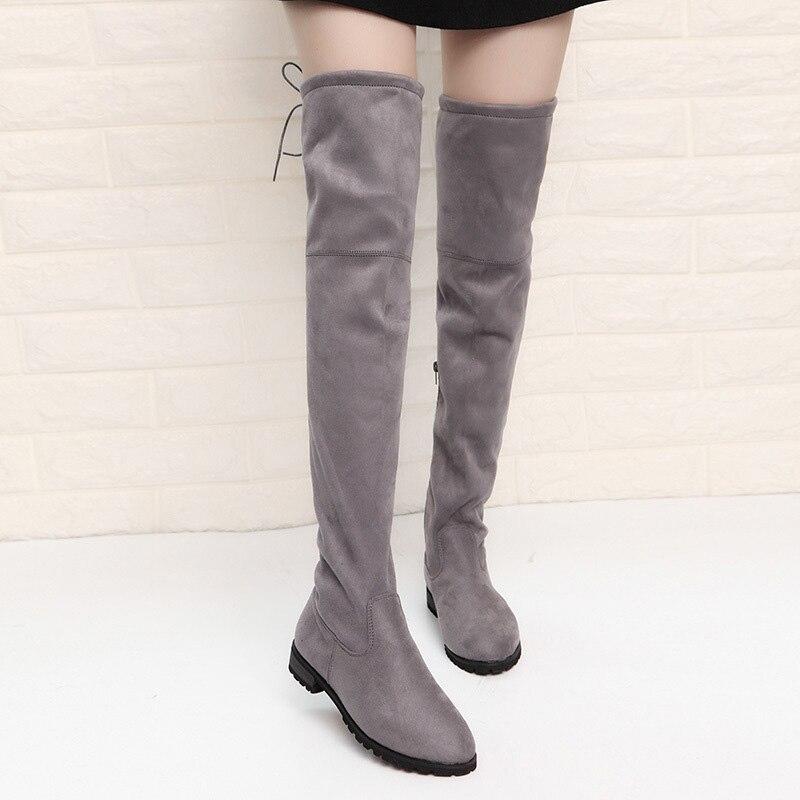 9c2530e7769b Cuir gris Bottines Femme Noir Cuisse Sur Chaussures Plat Femmes Sexy En  Stretch Haute Noir Gris Genou Bottes ...