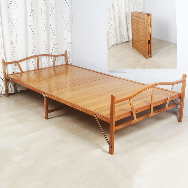 1.0x1.9cm Modern Folding Bed Indoor Bamboo Furniture Single Foldable Bed For Guest Home Bedroom Furniture Platform Bed Folding