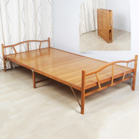 1.0x1.9cm Modern Folding Bed Indoor Bamboo Furniture Single Foldable Bed For Guest Home Bedroom Furniture Platform Bed Folding