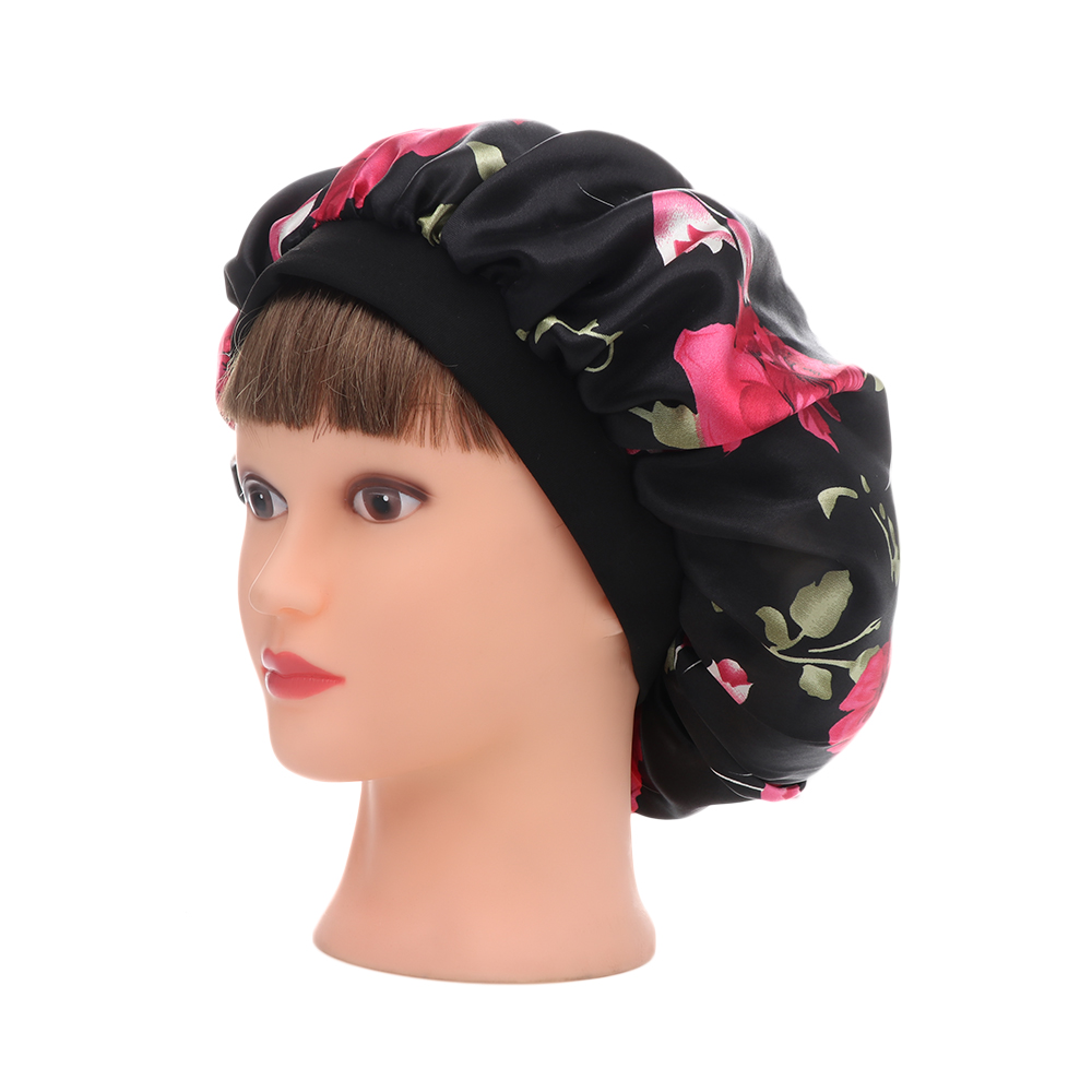 1 PC 2018 New Fahion Women Night Sleep Hat Wide Band Hair Loss Chemo Hat Comfortable Satin Bonnet Ladies Turban Caps imucci 13 colors solid muslim turban cap women elastic beanies hat bandanas big satin bonnet indian women turban black red