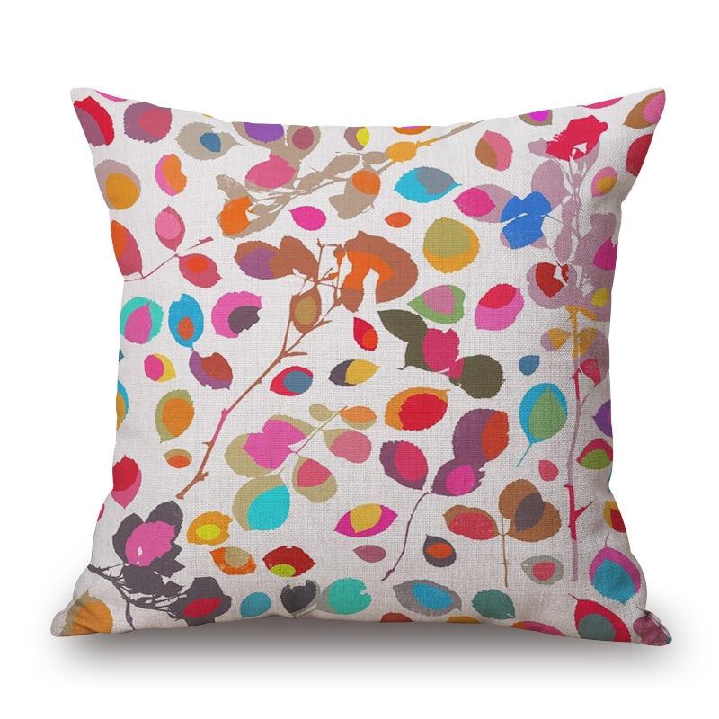 Fashion High Quality Cotton Linen Cartoon Coloful Leaf Decorative Throw Pillow Case Cushion Cover Sofa Home Decor
