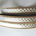 1 meter Gray Surface Snake Skin Pattren With Gold Chain 10*2mm Flat PU Leather Cord Bracelet Jewelry Findings