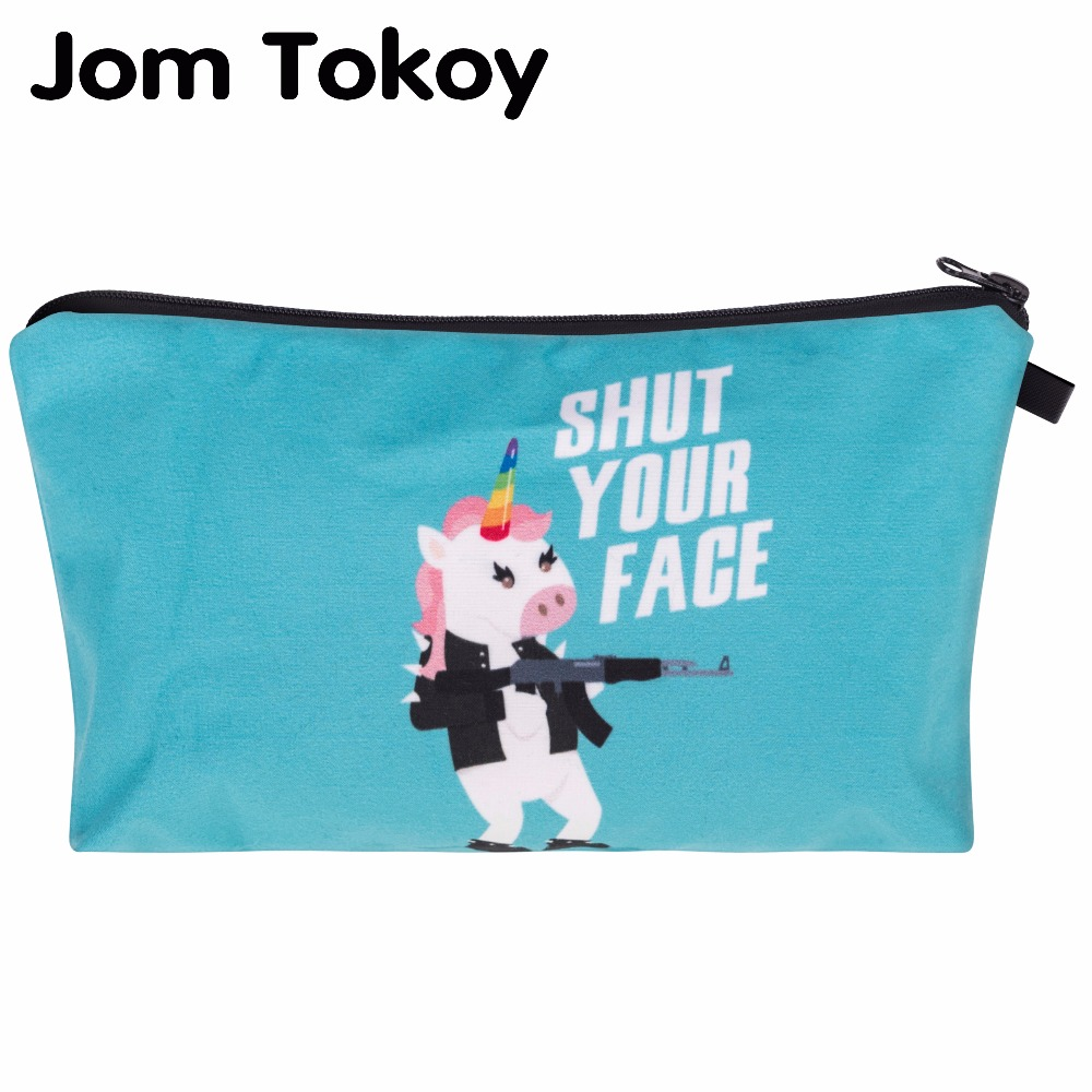 Jom Tokoy 3D Printing unicorn Makeup Bags Multicolor Pattern Cute Cosmetics Pouchs For Travel Ladies Pouch Women Cosmetic Bag 9 jom tokoy 3d printing unicorn makeup bags multicolor pattern cute women cosmetic bag