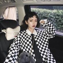 2019 New Ulzzang Harajuku Korean Boyfriend Loose Long Sleeve Polo Shirt Black And White plaid T-shir