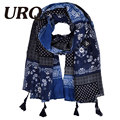 URQ Brand Design Viscose Reversible Scarf Paisley New Bufanda Shawls Handmade Dupatta Woman Long Tassel Scarves Wraps V10A18665
